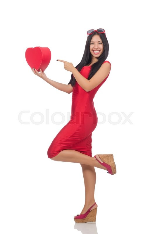 Stock image of 'Woman in saint valentine concept on white'
