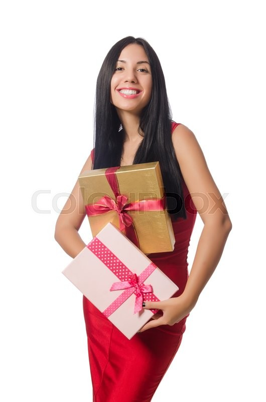Stock image of 'Woman with giftboxes isolated on white'