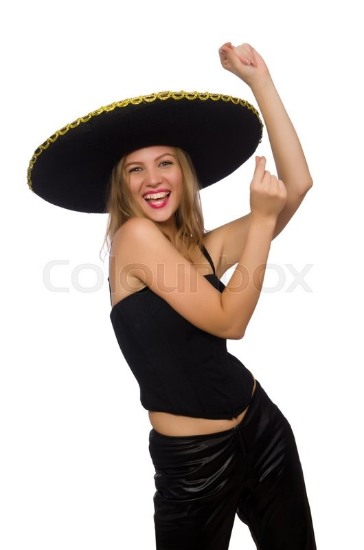 Stock image of 'Woman wearing sombrero on the white'