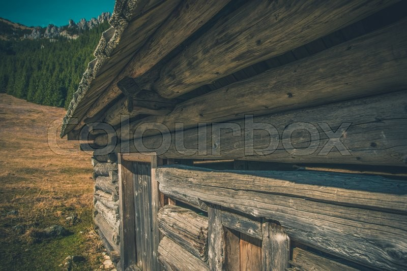 Stock image of 'Aged Mountain Cabin. Old Mountain Chalet. Chocholowska Valley, Poland, Europe.'