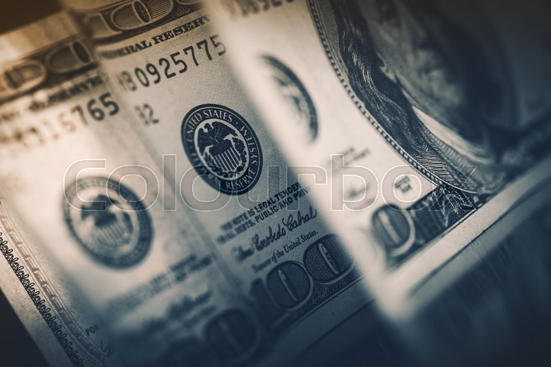 Stock image of 'Dollar Currency Cash Money. Banking and Financial American Dollars Banknotes Concept Photo.'