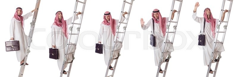Stock image of 'Arab businessman climbing the stairs on white'