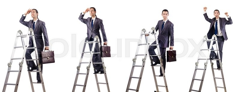 Stock image of 'Businessman climbing the ladder isolated on white'