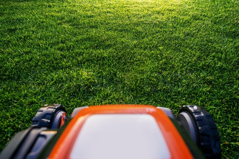 Stock image of 'Grass Mower in Action. Backyard Grass Field Mowing.'