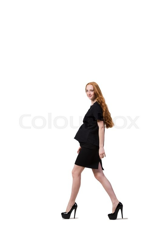 Stock image of 'Young pregnant woman isolated on white'