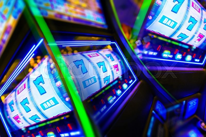 Stock image of 'Slot Machine Casino Mania. Vegas Play and Fun Conceptual Photo.'