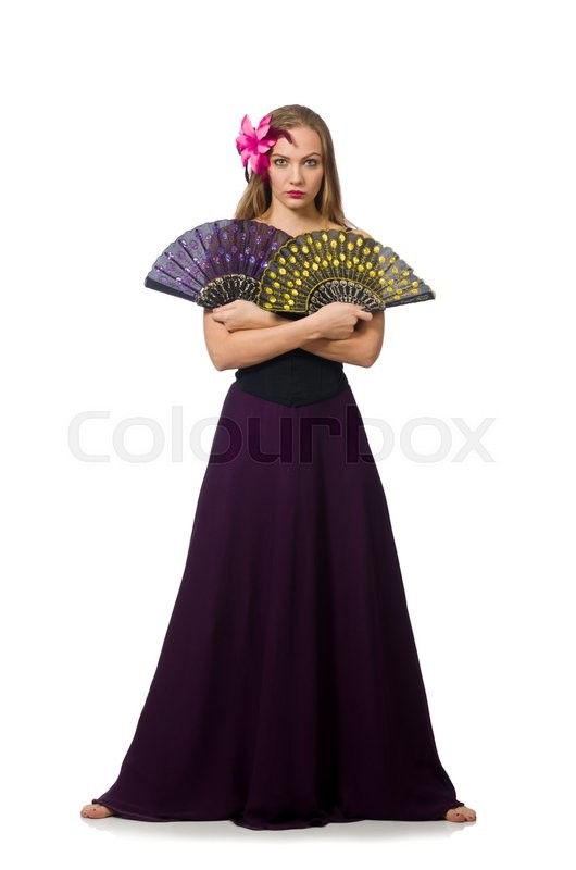 Stock image of 'Woman with fan dancing dances isolated on white'