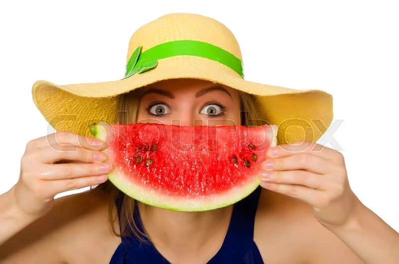Stock image of 'Woman eating watermelon isolated on white'