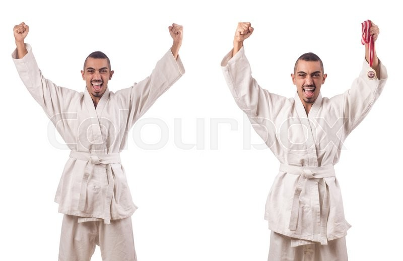 Stock image of 'Collage of karate player in kimono isolated on white'