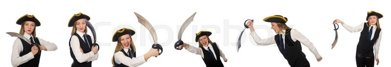 Stock image of 'Woman pirate isolated on the white'