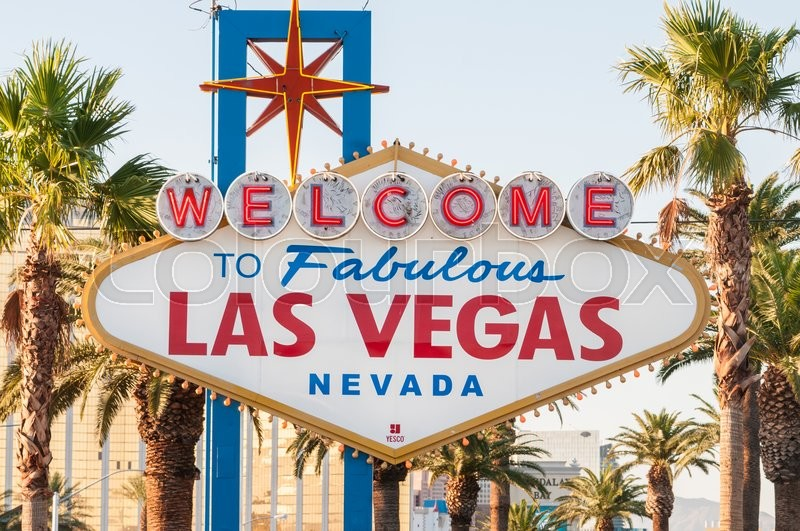Stock image of 'Famous Las Vegas sign on bright sunny day'