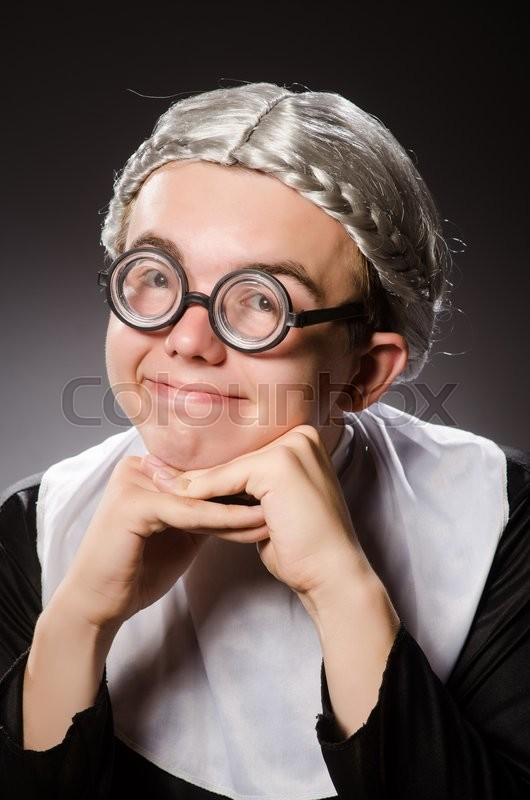 Stock image of 'Funny man wearing nun clothing'