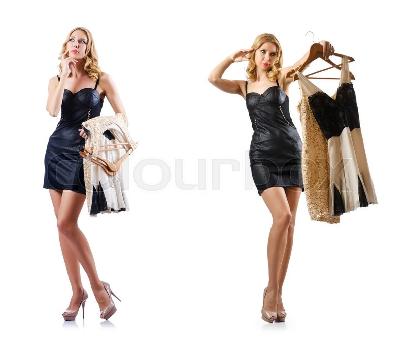 Stock image of 'Set of photos with woman trying new clothing'