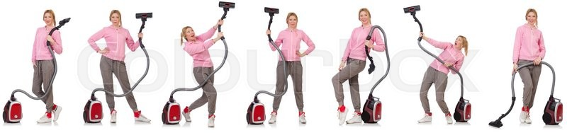 Stock image of 'Young woman with vacuum cleaner on white'
