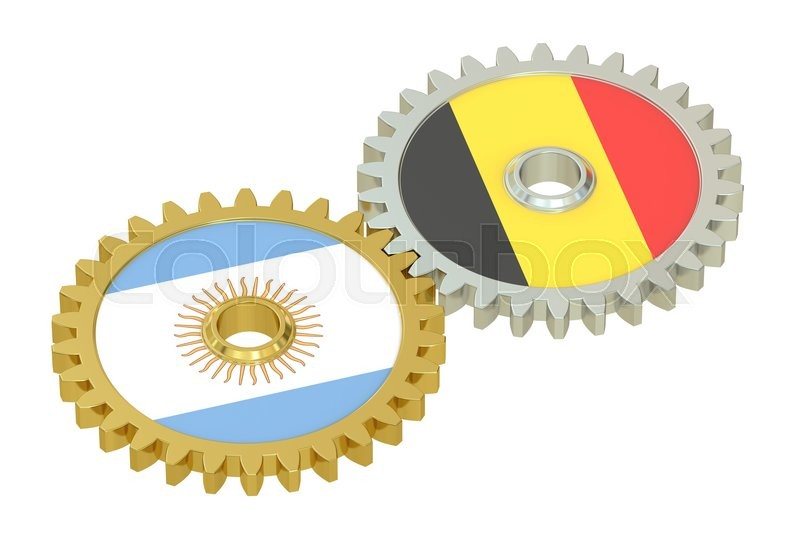 Stock image of 'Argentina and Belgium flags on a gears, 3D rendering isolated on white background'