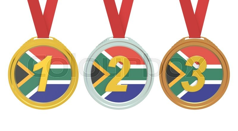 Stock image of 'Gold, Silver and Bronze medals with South Africa flag, 3D rendering'