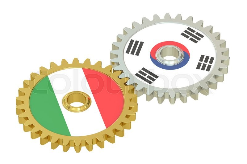 Stock image of 'Italy and South Korea flags on a gears, 3D rendering isolated on white background'