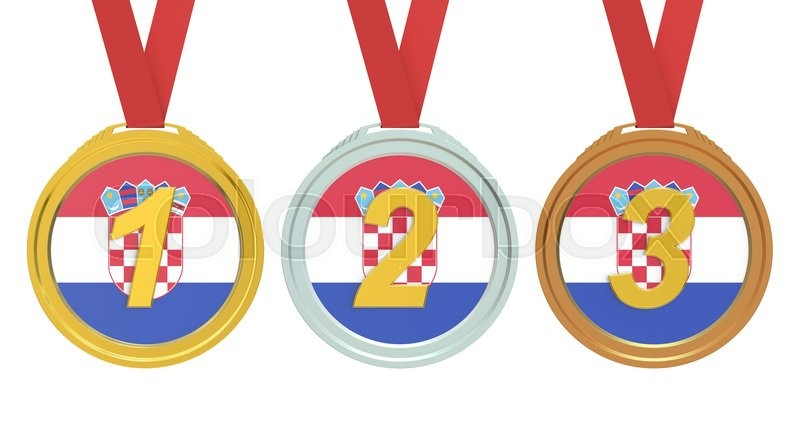 Stock image of 'Gold, Silver and Bronze medals with Croatia flag, 3D rendering'