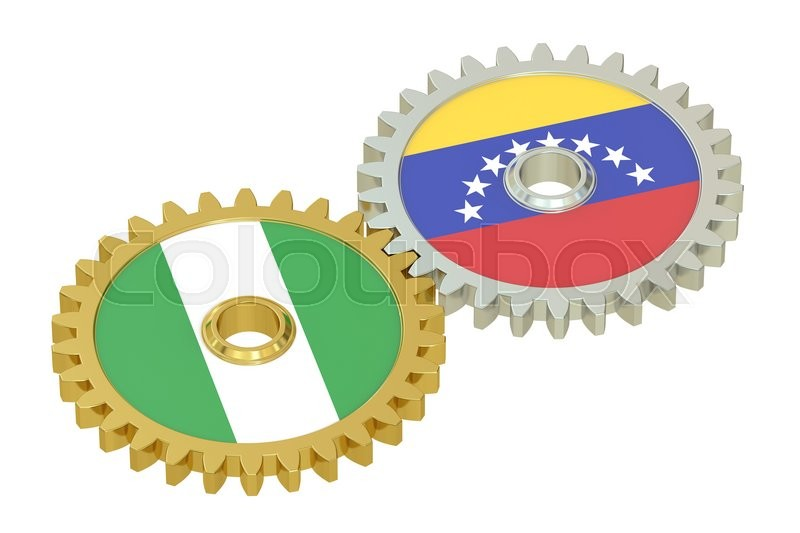 Stock image of 'Nigeria and Venezuela relations concept, flags on a gears. 3D rendering isolated on white background'