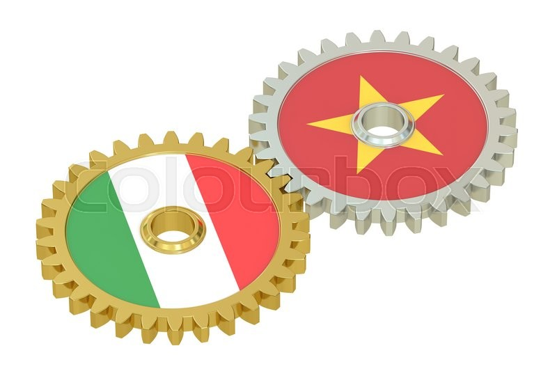 Stock image of 'Italy and Vietnam flags on a gears, 3D rendering isolated on white background'