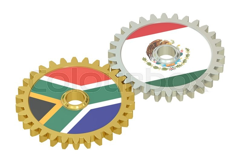 Stock image of 'South Africa and Mexico relations concept, flags on a gears. 3D rendering isolated on white background'