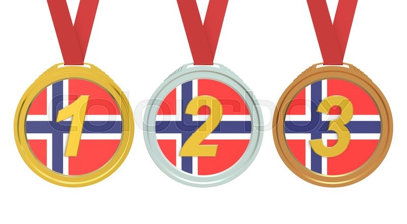 Stock image of 'Gold, Silver and Bronze medals with Norway flag, 3D rendering '