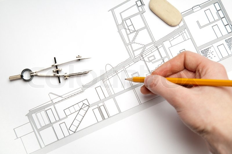 Architecture Blueprint Tools Stock Photo