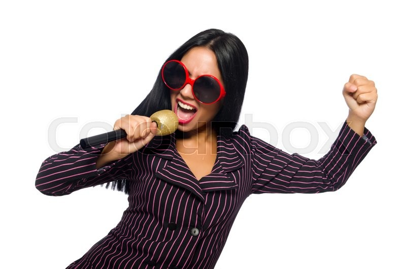 Stock image of 'Woman singing in karaoke club isolated on whie'