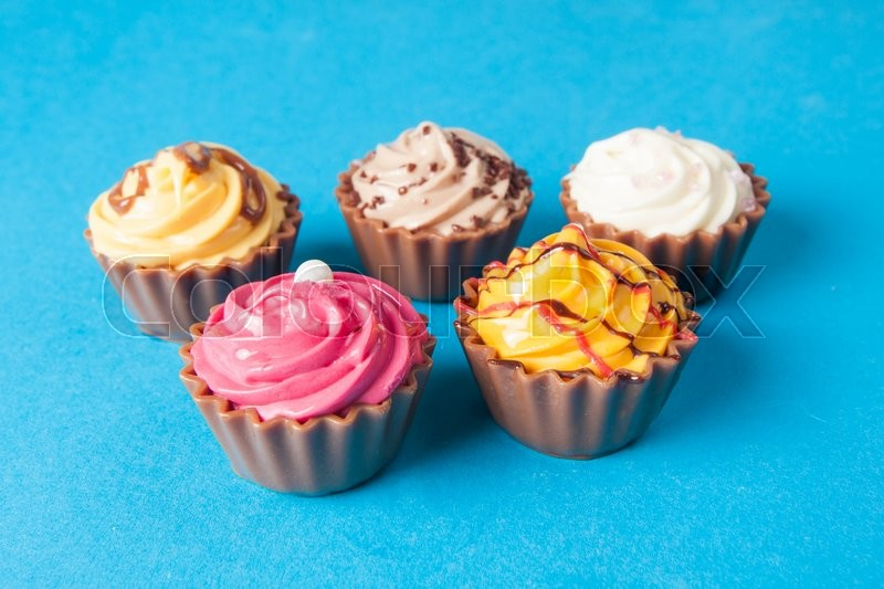 Stock image of 'Colorful cupcakes.  Chocolate Cupcake'