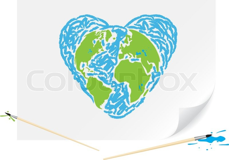 Children Drawing A Green Earth Heart A Brush Paints On A Paper Stock