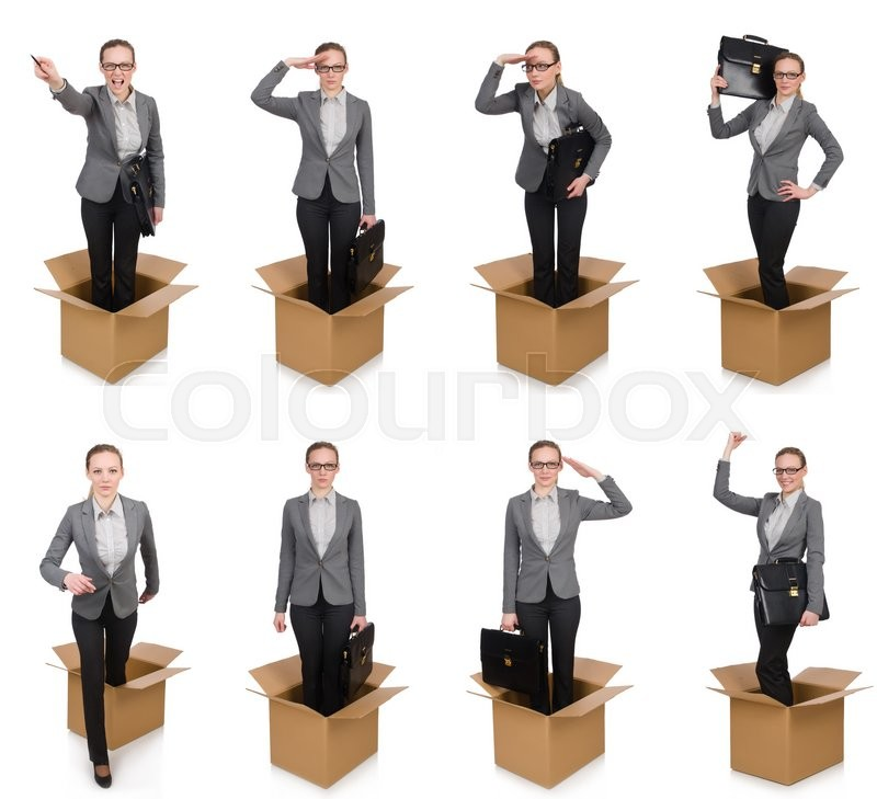 Stock image of 'Composite image of woman with boxes on white'