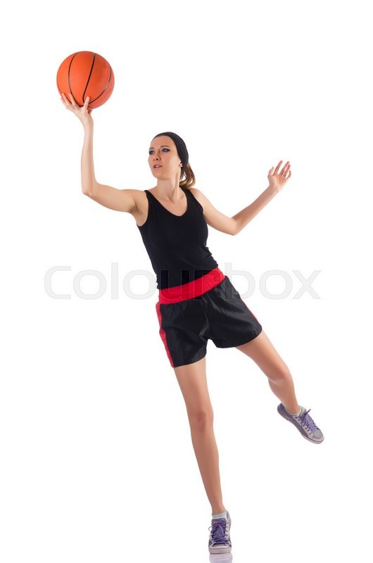 Stock image of 'Woman playing basketball isolated on white'
