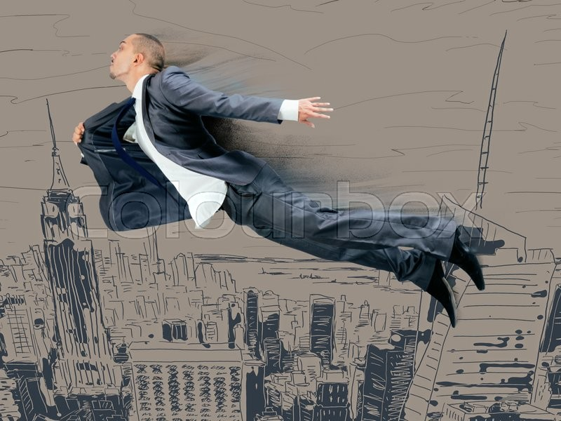 Stock image of 'Businessman flying above the city'