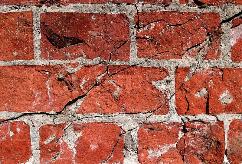 Cracked And Old Red Brick Wall Stock Photo Colourbox