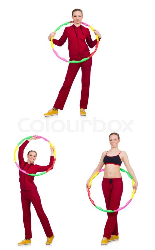 Stock image of 'Woman doing exercises with hula hoop'