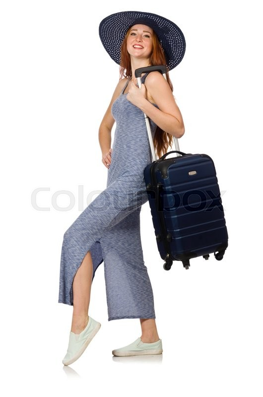 Stock image of 'Woman preparing for summer vacation on white'