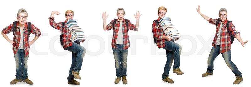 Stock image of 'Composite photo of student with books'