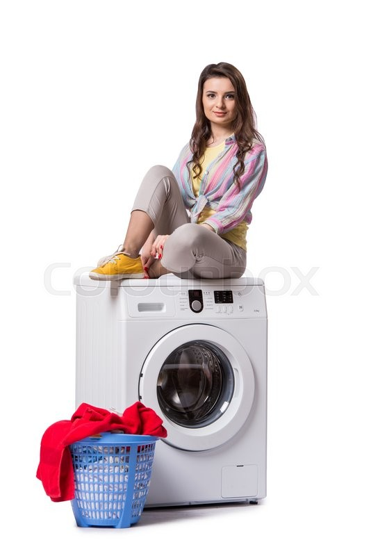 Stock image of 'Woman tired after doing laundry isolated on white'