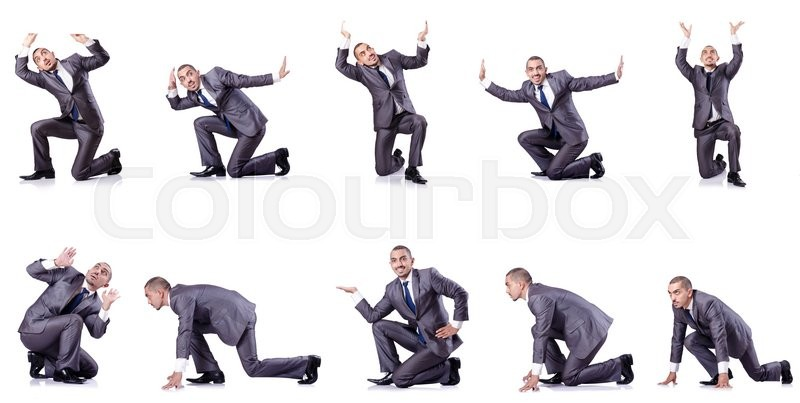 Stock image of 'Businessman in various poses isolated on white'