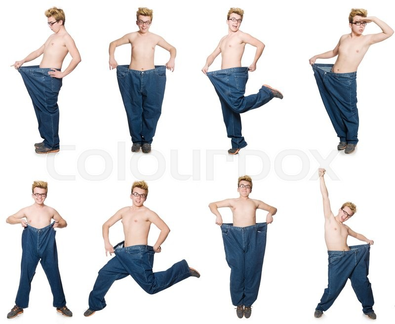 Stock image of 'Funny man with trousers isolated on white'