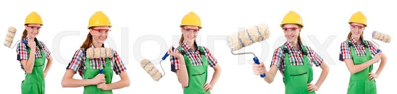 Stock image of 'Funny woman painter isolated on white'