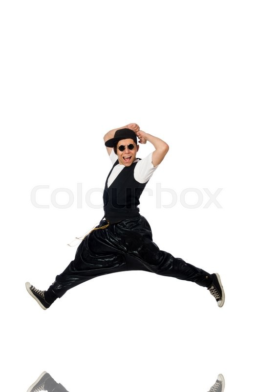 Stock image of 'Funny young man dancing isolated on white'