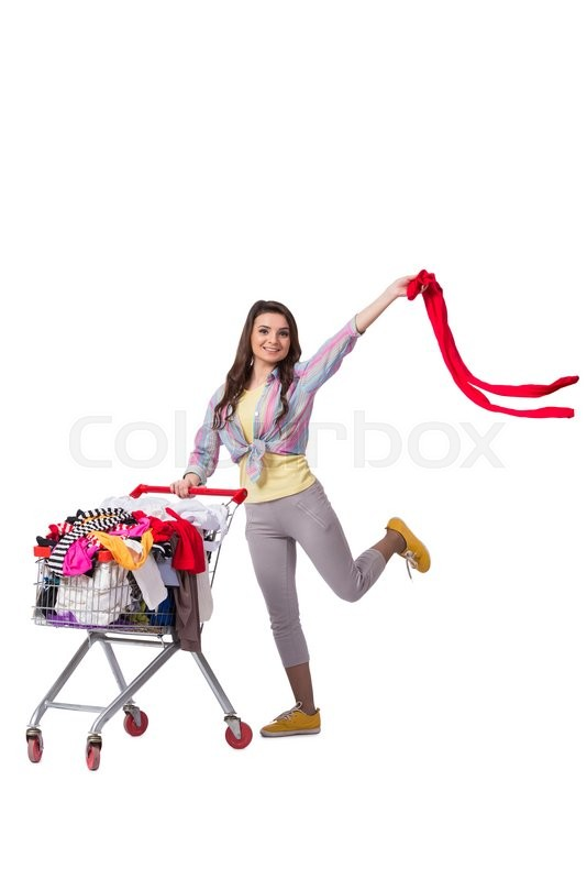 Stock image of 'Woman after buying second hand clothing on white'