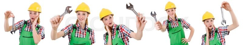 Stock image of 'Constructon worker female with wrench isolated on white'