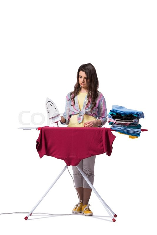 Stock image of 'Woman ironing clothing isolated on white'