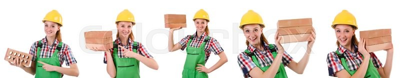 Stock image of 'Woman with bricks isolated on white'