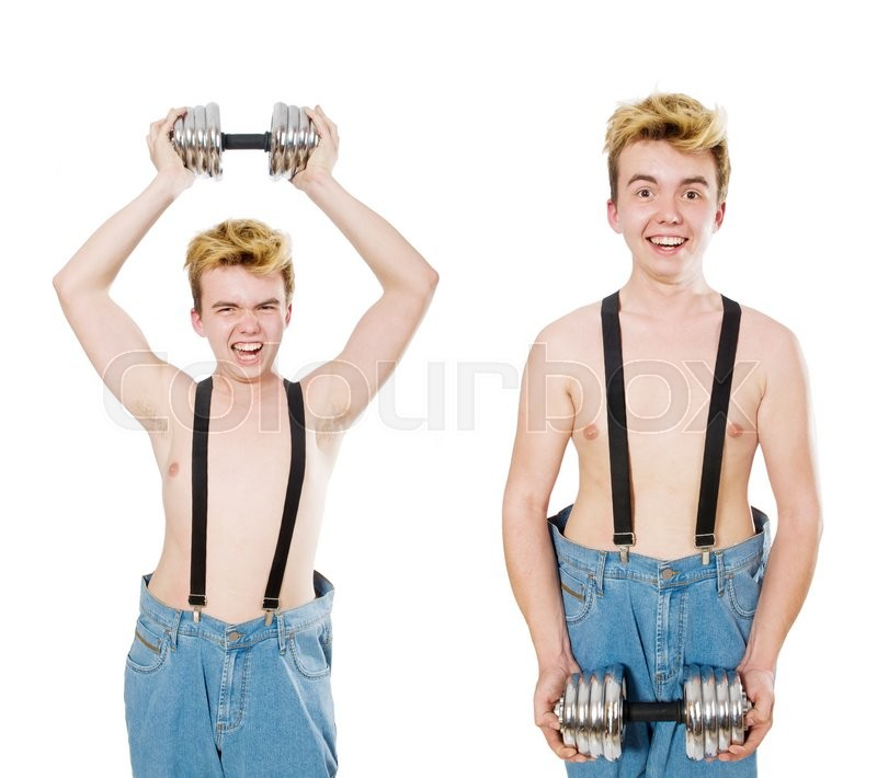 Stock image of 'Collage of funny man with dumbbells on white'