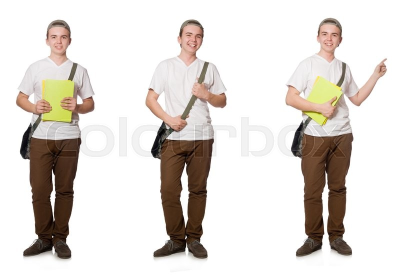 Stock image of 'Young student isolated on the white background'
