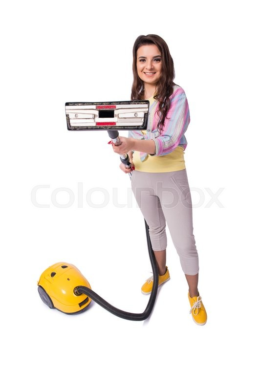 Stock image of 'Woman with vacuum cleaner isolated on white'