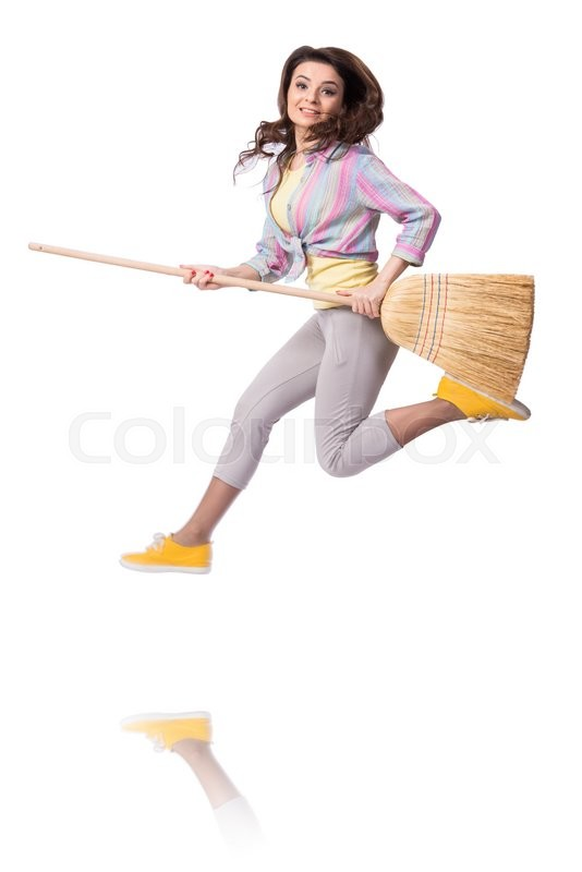 Stock image of 'Woman sweeping floor isolated on white'